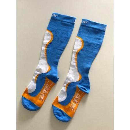 Chaussettes de compression Bleu-Orange-Blanche